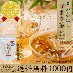 【送料無料】ひやして美味しい冷・ゴボウ茶 (牛蒡茶) まるごと皮付き桜島溶岩焙煎のごぼう茶 水1Lに1包入れて置くだけでごぼう茶が出来ます。 【ゴボウ茶】【ごぼう茶】【無添加】 (1袋 3g×20包 約20L分相当)