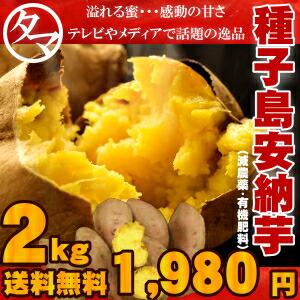 【送料無料】種子島産安納芋2kg テレビ・メディアで話題沸騰のまるで天然のスイートポテトのような甘さ♪こぼれる蜜!食べてビックリ!とろ~り広がる甘い香りと風味はまさに安納芋ならではの格別な味わい! 今なら2セット以上で1kg増量!さつまいも サツマイモ