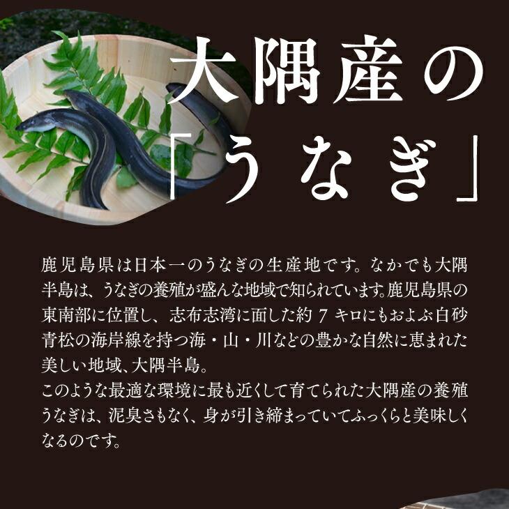 大隅産「うなぎ」鹿児島県は日本一のうなぎの生産地です。なかでも大隅半島は、うなぎの養殖が盛んな地域で知られています。鹿児島県の 東南部に位置し、志布志湾に面した約7キロにもおよぶ白砂 青松の海岸線を持っ海・山・川などの豊かな自然に恵まれた 美しい地域、大隅半島。 このような最適な環境に最も近くして育てられた大隅産の養殖 うなぎは、泥臭さもなく、身が引き締まっていてふっくらと美味しくなるのです。