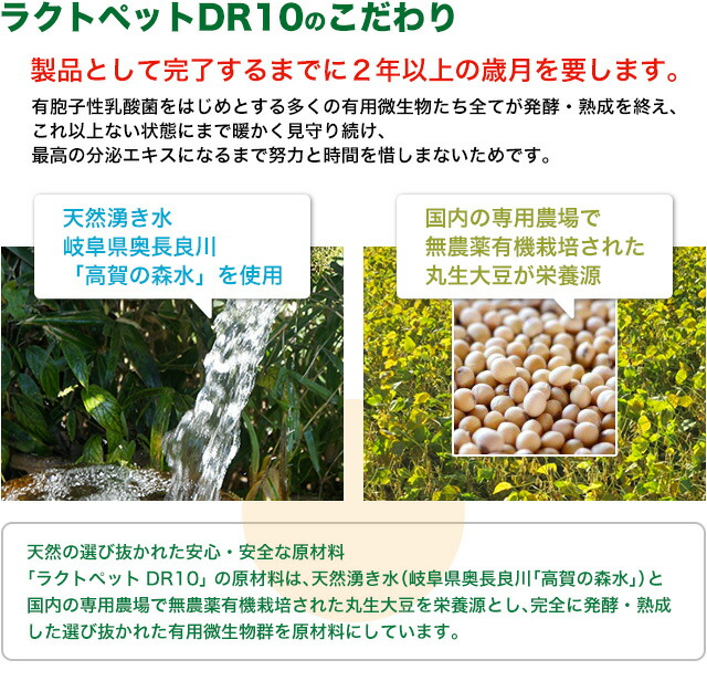 「ラクトペットDR10」のこだわり - 天然湧き水・無農薬有機栽培の丸大豆が栄養源