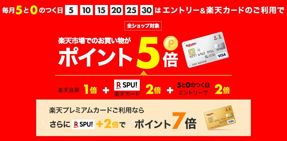 毎月5と0の付く日は 楽天カードご利用でポイント5倍 楽天プレミアムカードご利用でポイント7倍