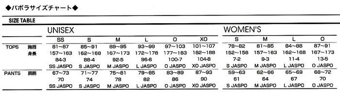 バボラサイズチャート