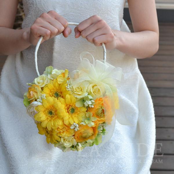高品質造花ウェディング/ブライダル/結婚式/黄色ガーベラハートバックブーケ・ブートニア アーティシャルフラワー