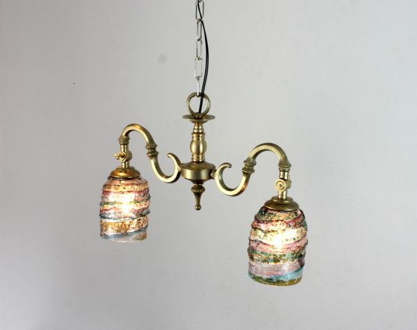 ベネチアングラスシャンデリアランプfc-562-sbruffo-amethyst-lightblue-amber
