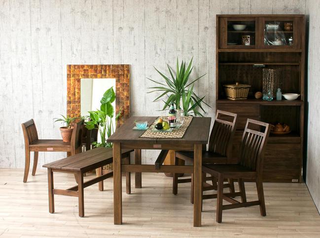 アクビィチーク木製ダイニングテーブル素材アップ画像