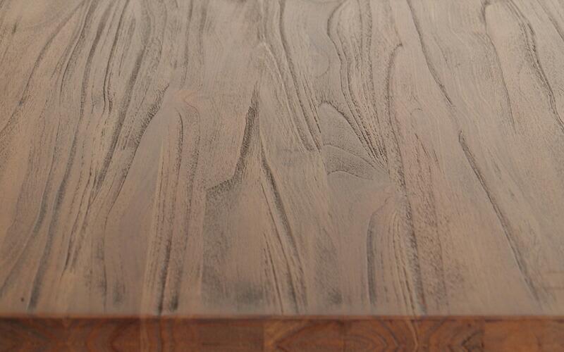 アクビィチーク木製ダイニングテーブルのチーク材アップ画像