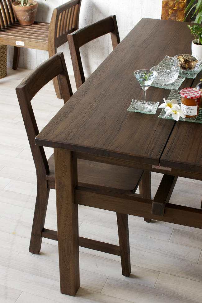 アジアン家具 アクビィ チーク無垢木製 4人用ダイニングテーブル4点セット 幅140cmタイプ T41K310B