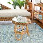 アジアン家具 インテリア 安い バナナリーフ アバカ サイドテーブル カフェテーブル ガラス