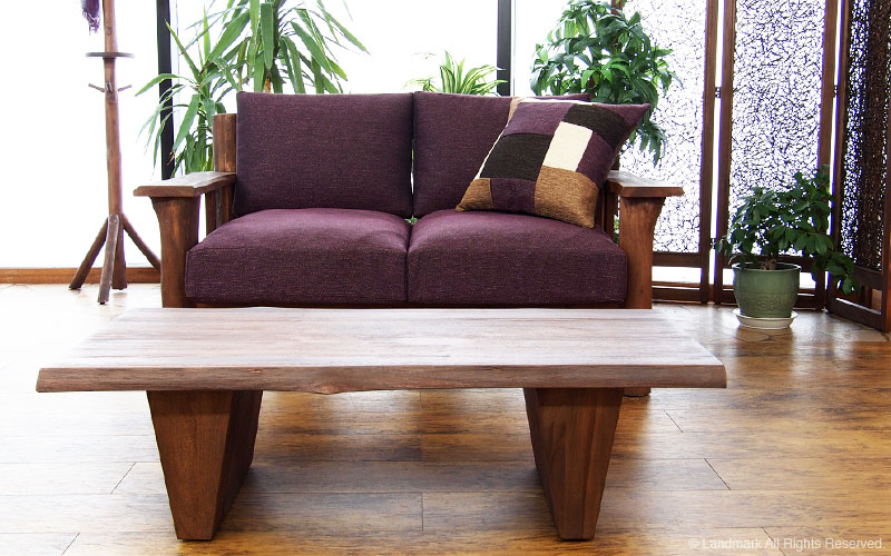 リビングをバリ島のリゾートな癒しのリラックス空間に。アジアン家具アクビィシリーズのおしゃれなチーク無垢木製センターテーブル
