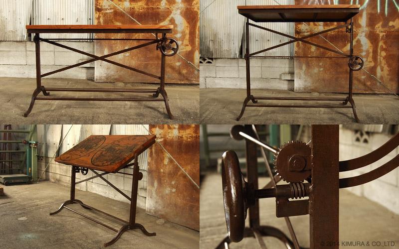 錆(サビ)を活かしたビンテージな趣のデスクテーブル。コーヒーテーブルや学習机、ワークデスクとしてもお使い頂けます。