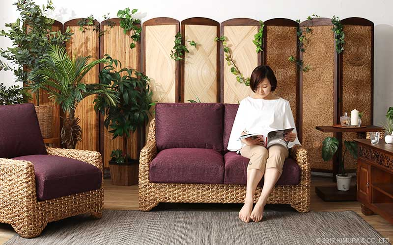 ウォーターヒヤシンス製ソファです