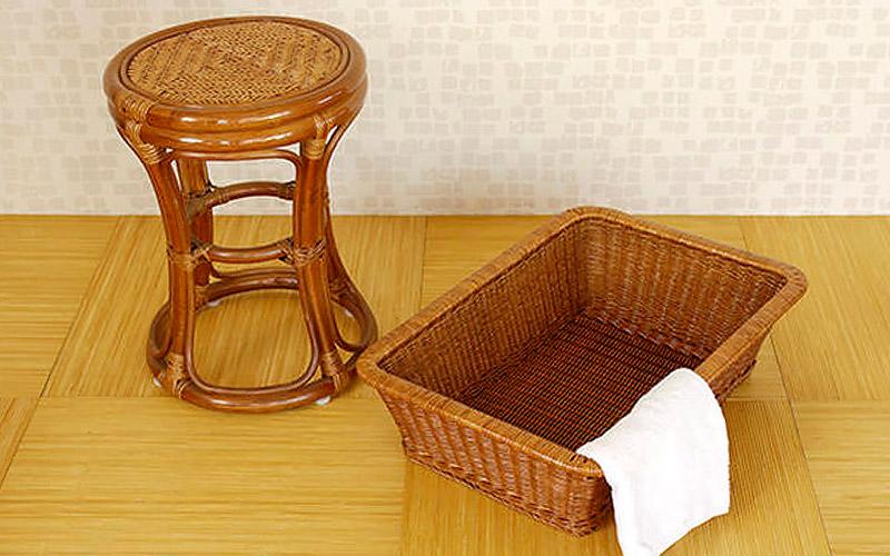 業務用にもおすすめ。籐製の脱衣カゴです。籐家具 脱衣カゴ ラタンバスケット ナチュラル (GK505)