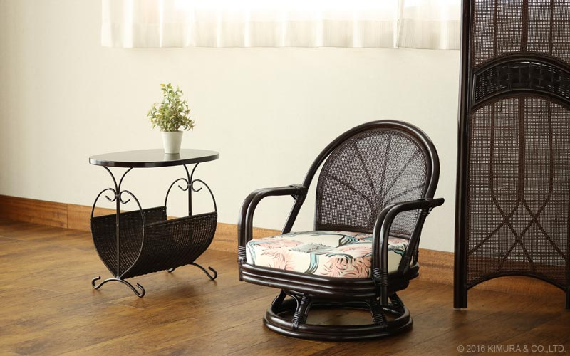 籐回転椅子 スタンダード ミドルタイプ 座面高26cm 選べる座面クッション プリント柄