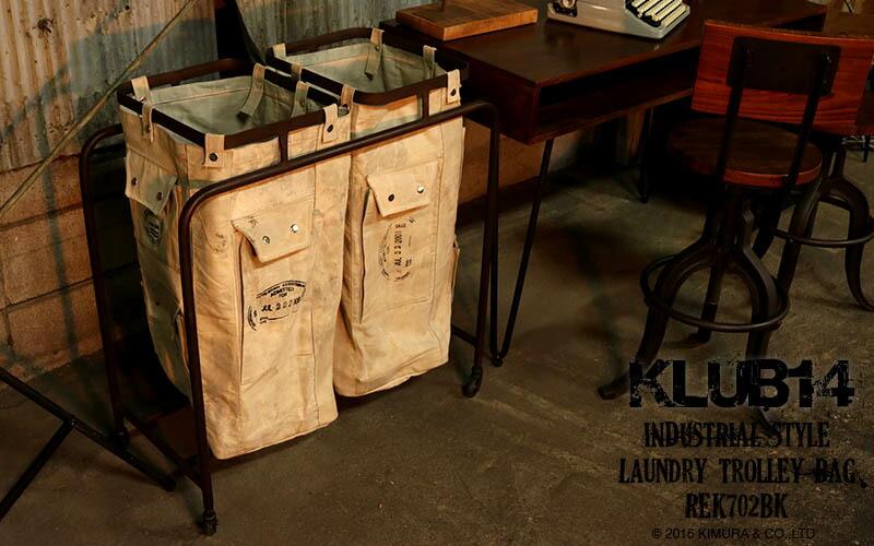 KLUB14 インダストリアル家具 ランドリー トロリー バッグ (REK702BK)