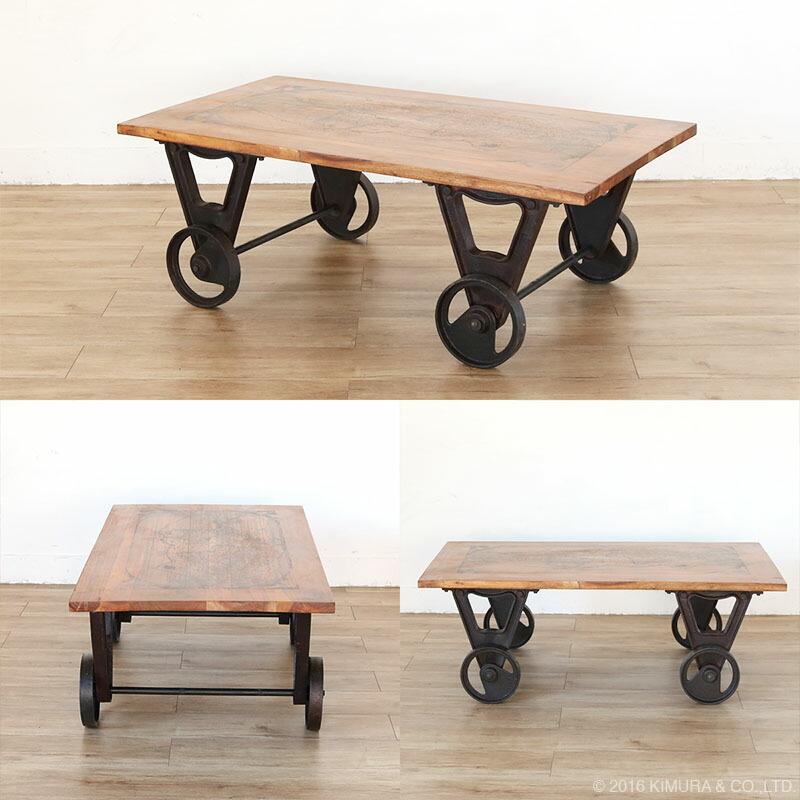 天然木の天板に、車輪を合わせたインダストリアルスタイルのセンターテーブル。まるで廃工場から部品を調達し天然木と合わせてDIYした様な、無骨でクールなインダストリアルデザインのセンターテーブルです。