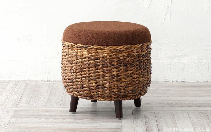 サンフラワーラタン アジアン家具 バナナリーフ製 スツール 椅子 (C205ATY)