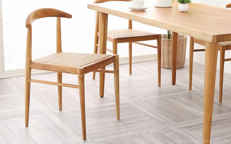 ダイニングチェア チーク無垢木×籐(ラタン)製 椅子   (O-C751WX)
