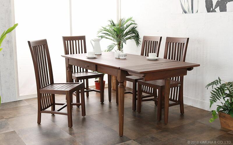 アジアン家具 アクビィ チーク無垢木製 ダイニング5点セット