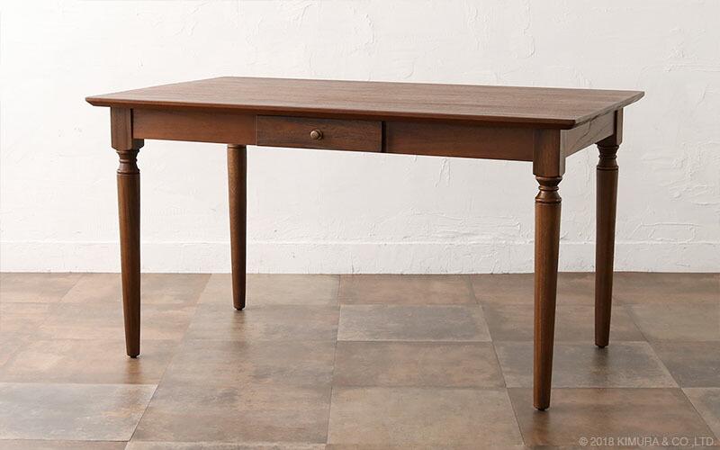 チーク無垢木製の伸長エクステンションダイニングテーブル