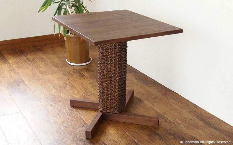 チーク無垢木製テーブル 角型 ウォーターヒヤシンス