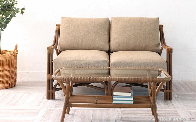 籐、ラタン製の2人用2Pソファ