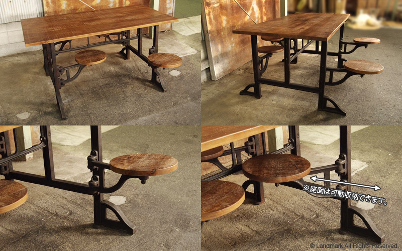 industrial furniture table with stool 詳細