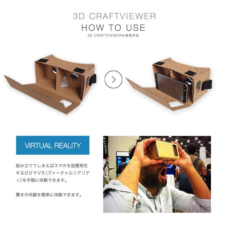 3D VR クラフトビューアー Virtual reality バーチャル リアリティ 360° 動画 Oculus Rift オキュラス リフト ゲーム アプリ アイドル ライブ 3D映像 仮想現実 レンズ カメラ スマホ iphone6 5 4 3