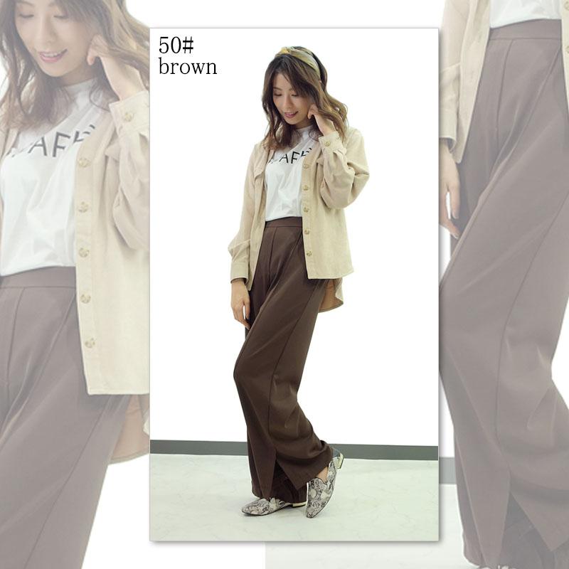 レディースファッション LASTNOTEのセンタープレス ワイドパンツ