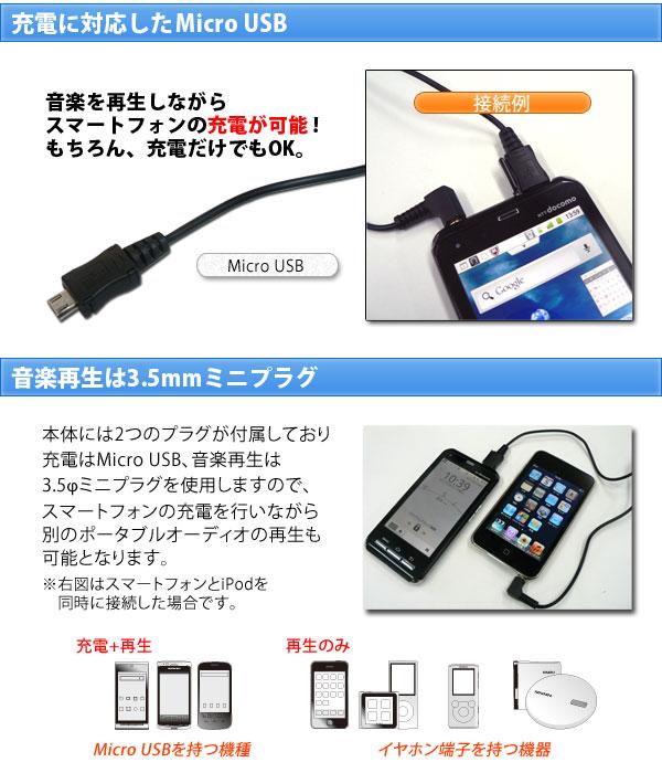 充電に対応したmicro USB、音楽再生は3.5mmミニプラグ
