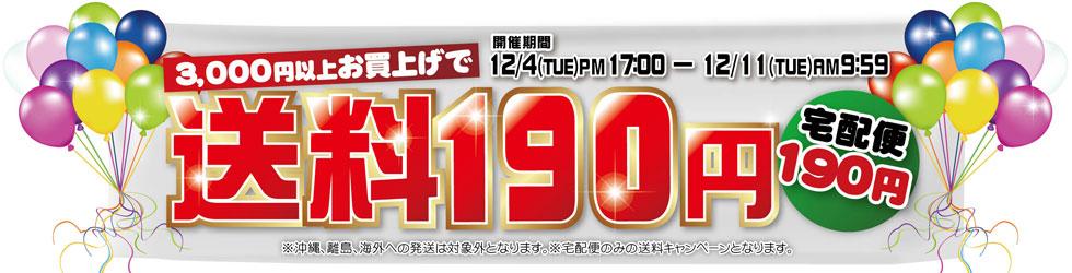 12月4日17時から12月11日9時59分までお買い上げ3,000円以上で送料190円