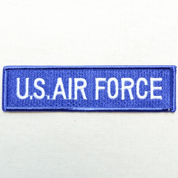 ミリタリーワッペン U.S.Air Force エアフォース 青 ブルー 長方形 四角形 アメリカ空軍 military シンプル ロゴ エンブレム メール便OK