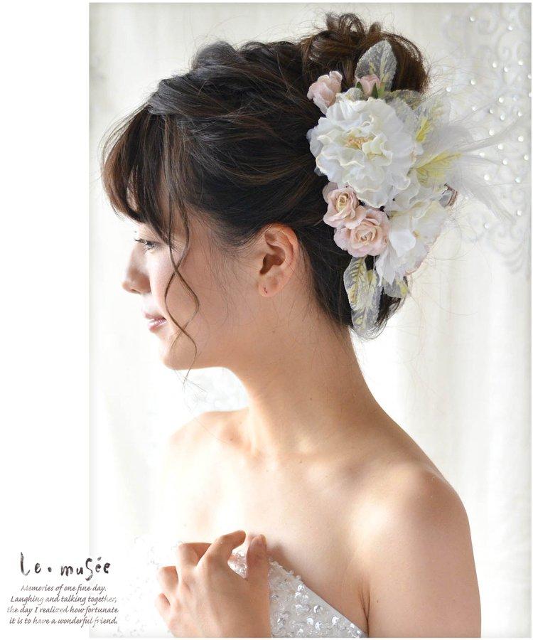 ヘッドドレス 花 ウェディング パウダーフラワー