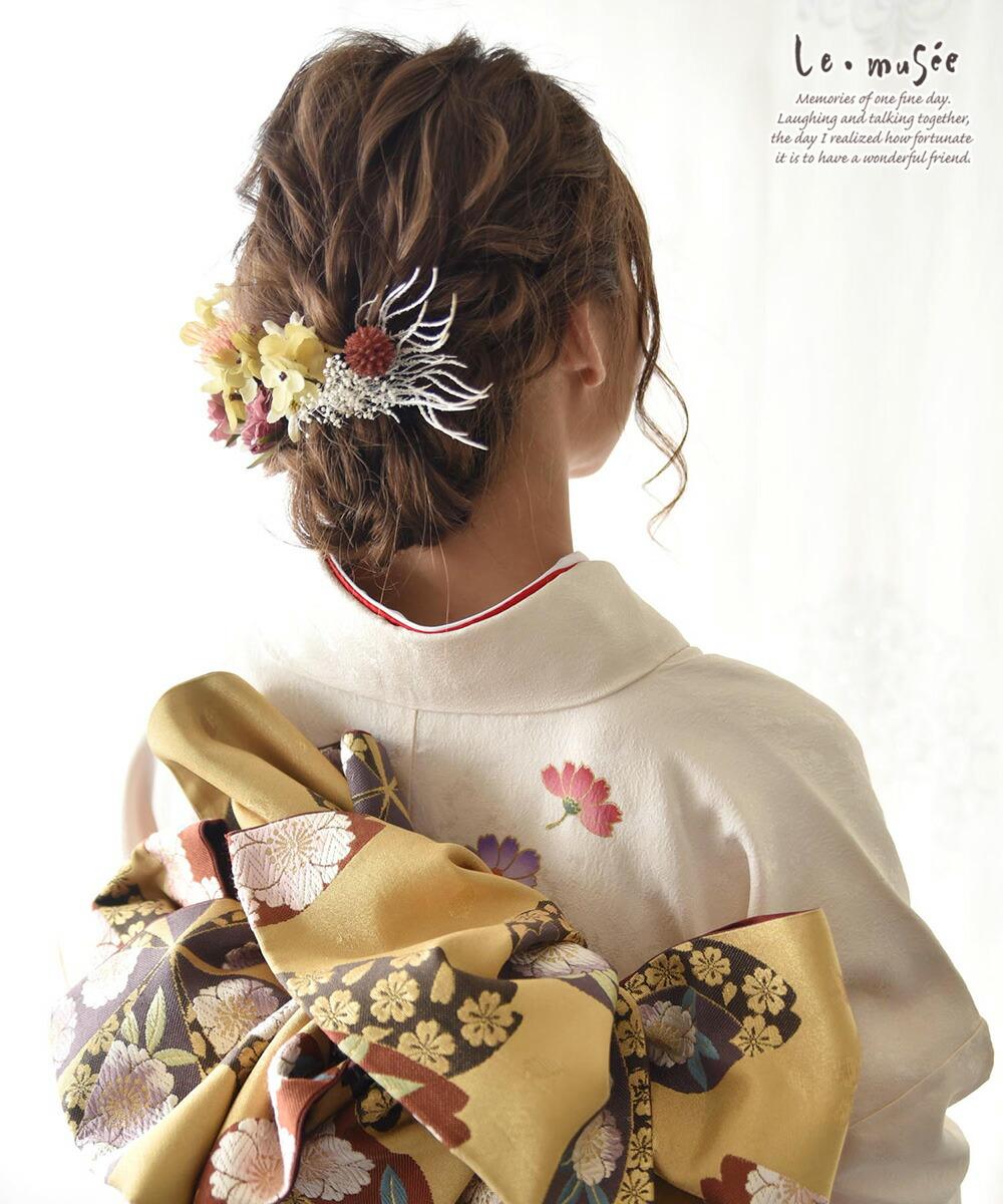 ヘッドドレス 花 ウェディング ドライフラワー クレイン