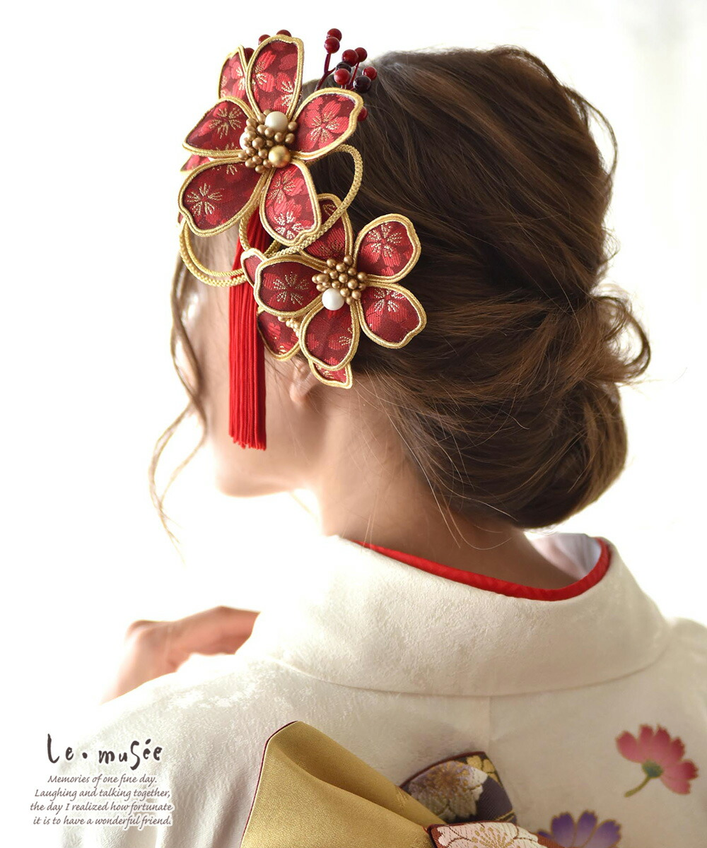 和装 髪飾り 造花 紅寿