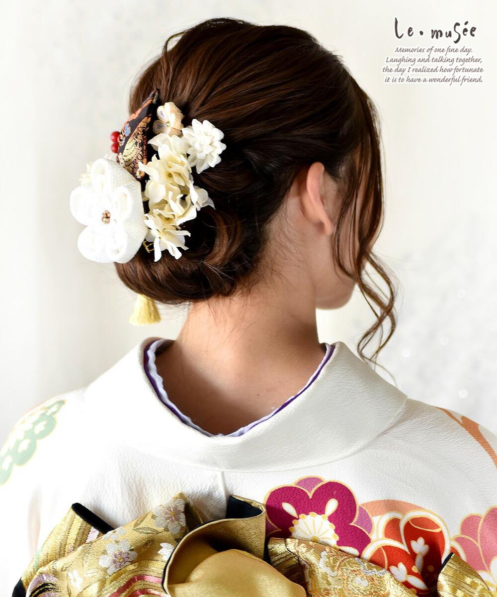 ド 成人式 髪飾り 和装 金襴リボンとつまみ飾り
