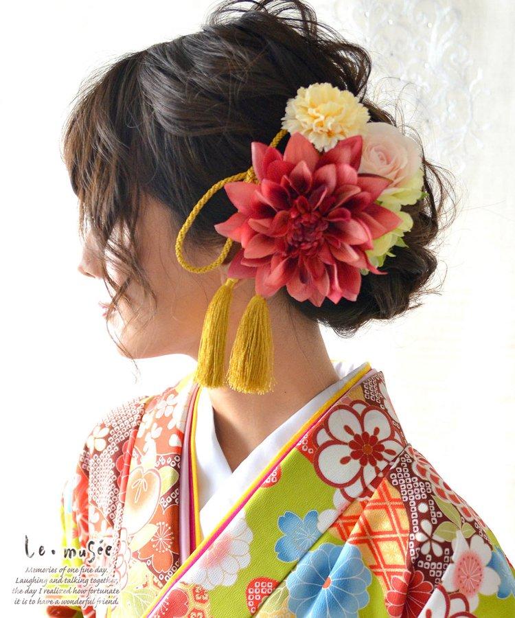 和装髪飾り【花】朱莉(あかり)