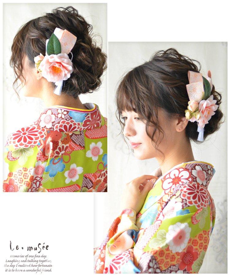 髪飾り【花】珊瑚椿
