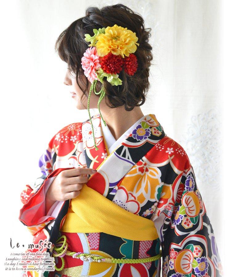 髪飾り【花】虹かざり