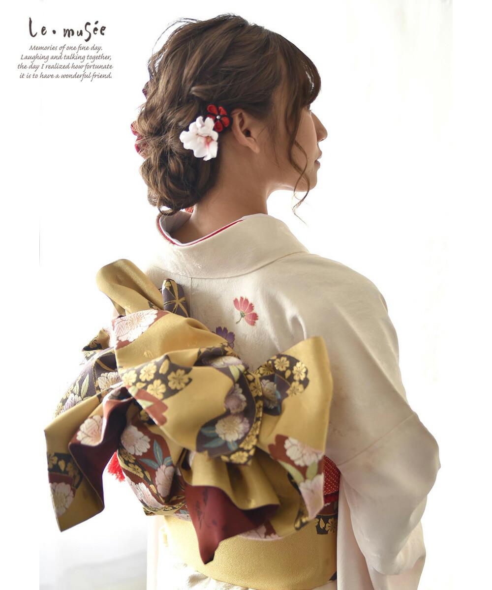 和装 髪飾り 造花 市松リボン飾り
