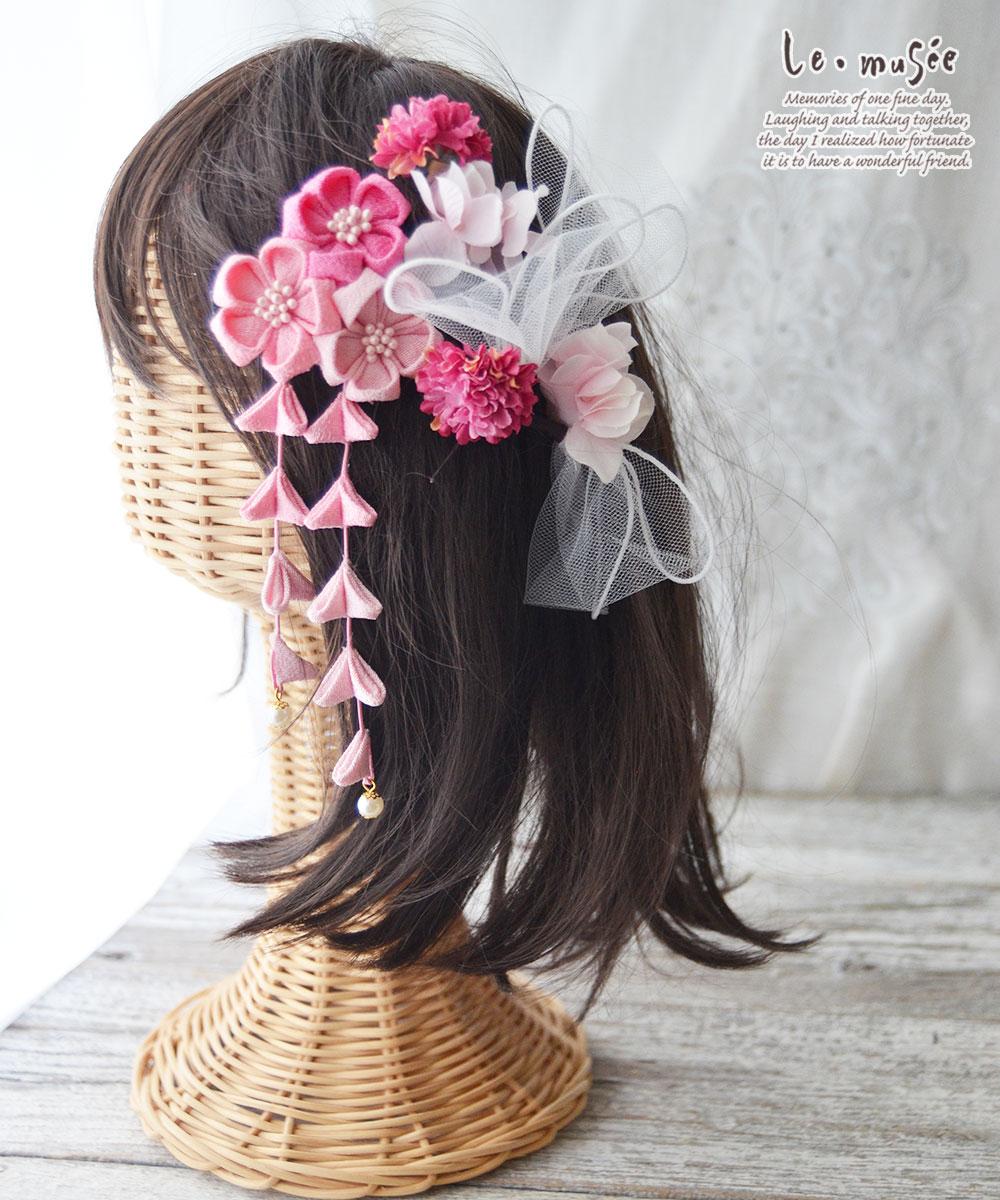 七五三髪飾り チュール&つまみ細工