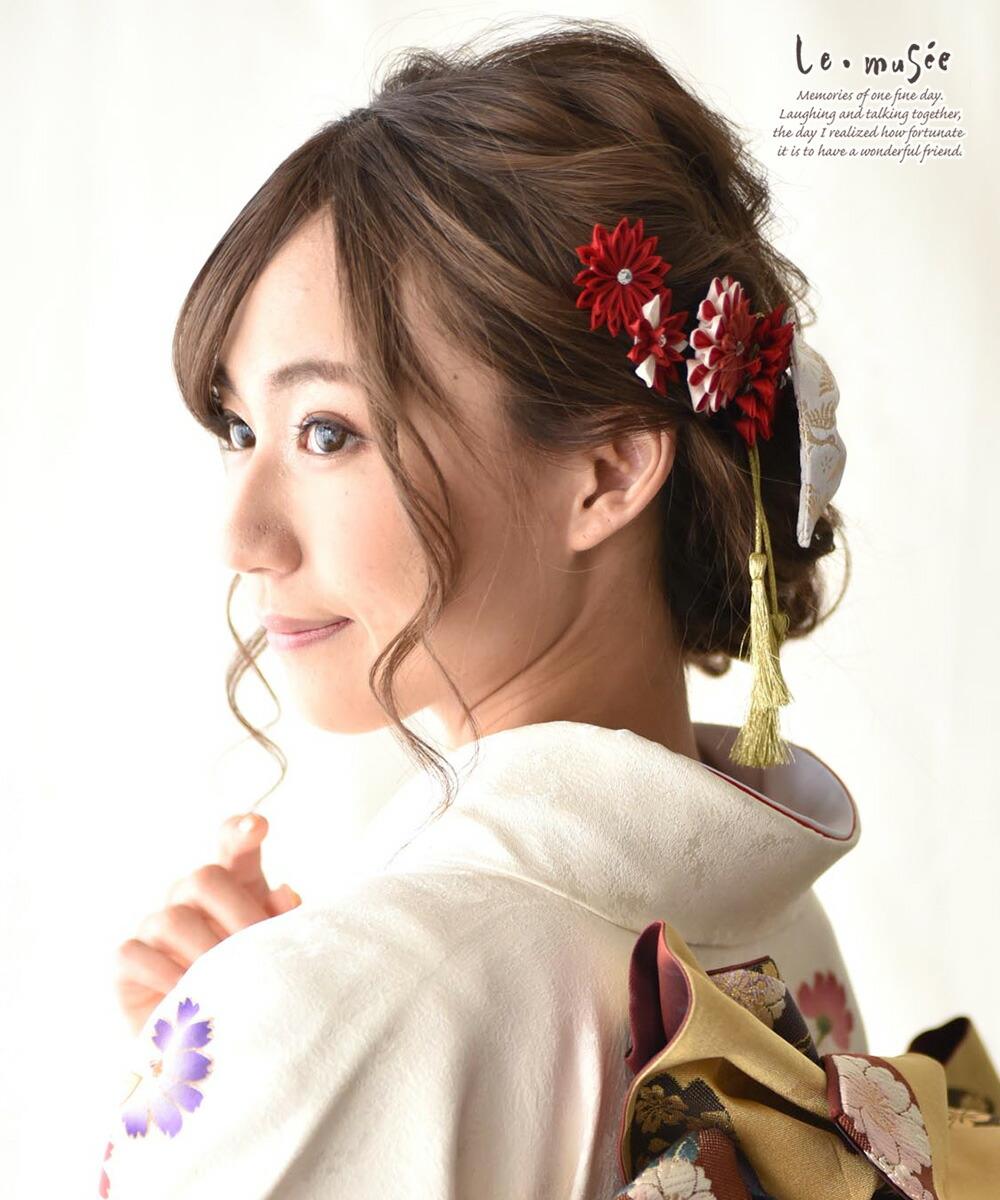 袴 髪飾り リボン  菊づくし