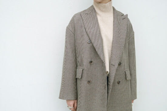 AURALEE(������ )  DOUBLE FACE CHECK DOUBLE-BREASTED COAT