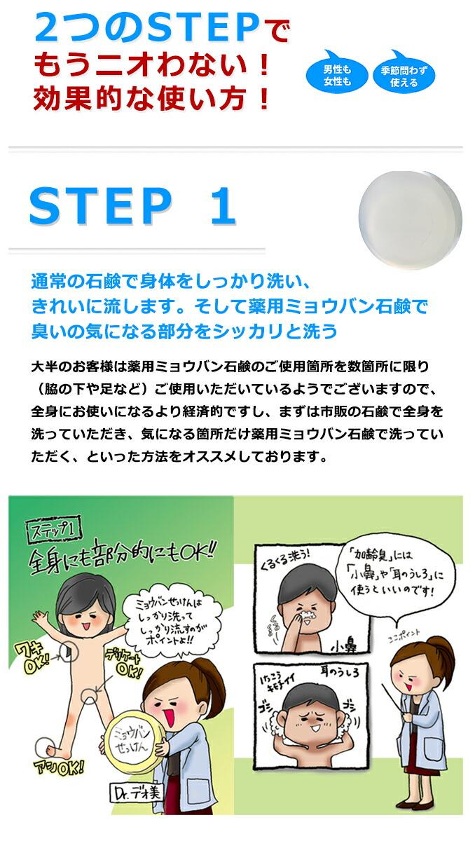 効果的な使い方!ステップ1は、薬用ミョウバンせっけんでニオイの気になる部分を洗う
