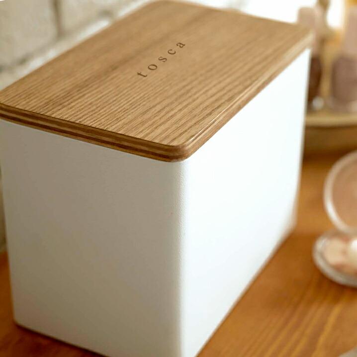 綿棒 生理用品 トイレ 洗面所 おしゃれ 小物 蓋付き 収納 コットンケース トスカ ホワイト 山崎実業 YAMAZAKI