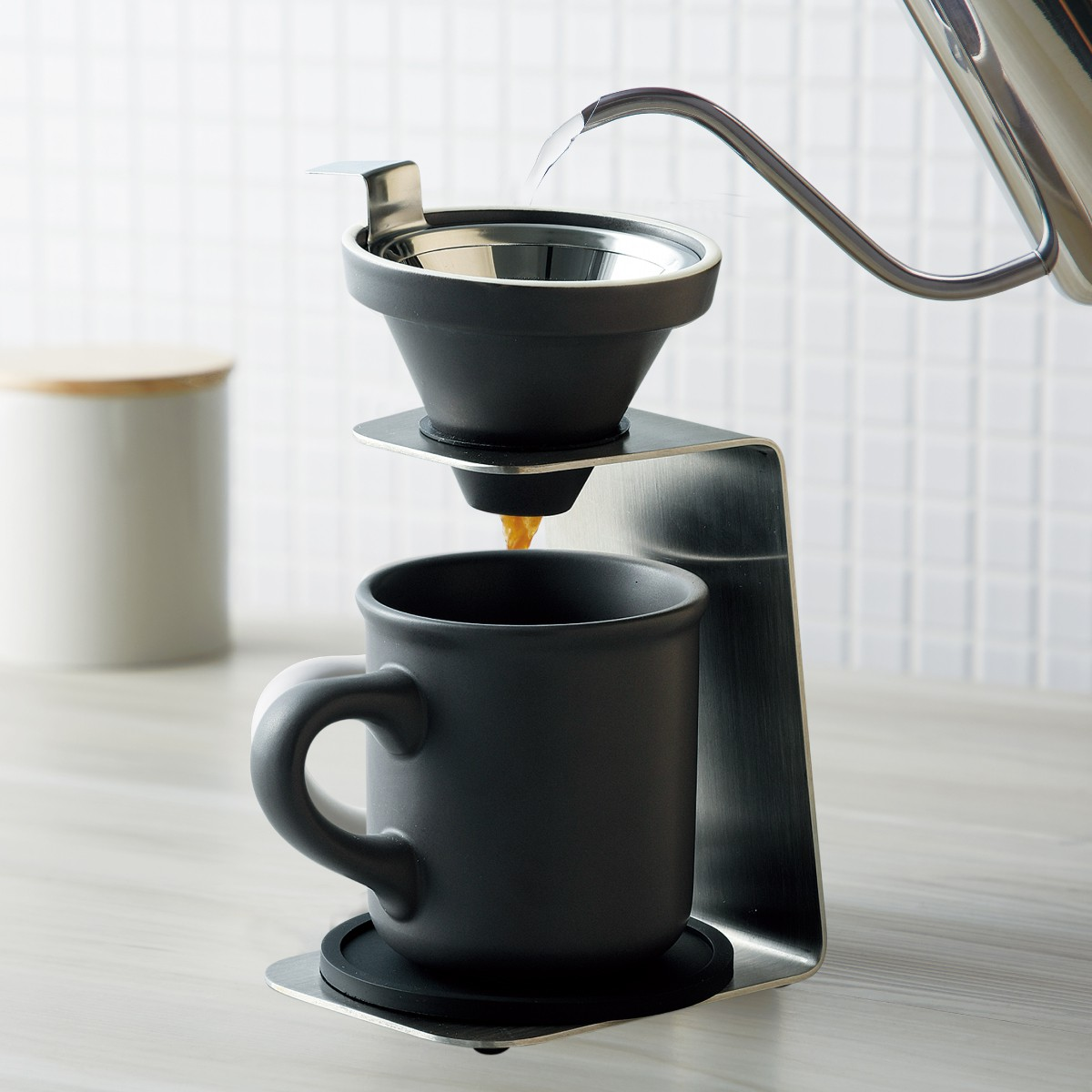 コーヒードリッパー セット コーヒーメーカー ハンドドリップ ブリューコーヒー 一人用ドリッパーセット グレー 51642 コーヒーグッズ特集