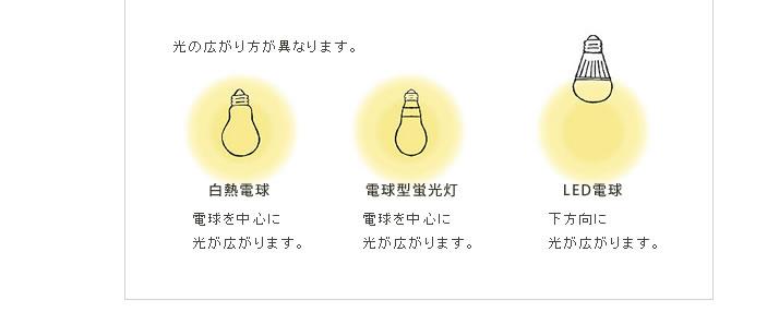 光の広がり方が異なります。