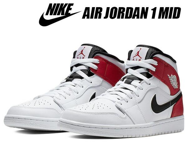 release date: 577b9 1acf4 NIKE AIR JORDAN 1 MID white/black-gym red 554,724-116 Nike Air Jordan 1 mid  sneakers AJ1 white gym red black