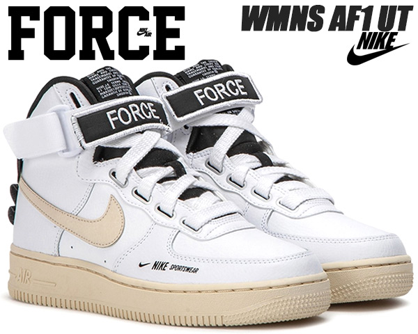NIKE WMNS AF1 UT whitelight cream black white aj7311 100 Nike women air force 1 high utility sneakers Lady's girls FEMALE AIR FORCE 1 HIGH UTILITY