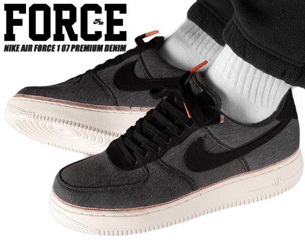 NIKE AIR FORCE 1 07 PREMIUM DENIM blackblack summit white 905,345 006 Nike air force 1 07 premium sneakers AF1 black denim red ear セルビッジ