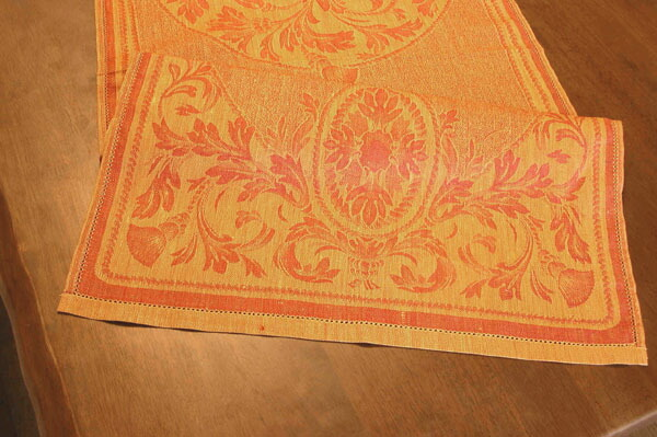 It Is Portugalu0027s Traditional Damask Woven Tapestry Pattern Table Runner.  Beautiful Table Is An Elegant Gold Color With Tapestry Pattern.